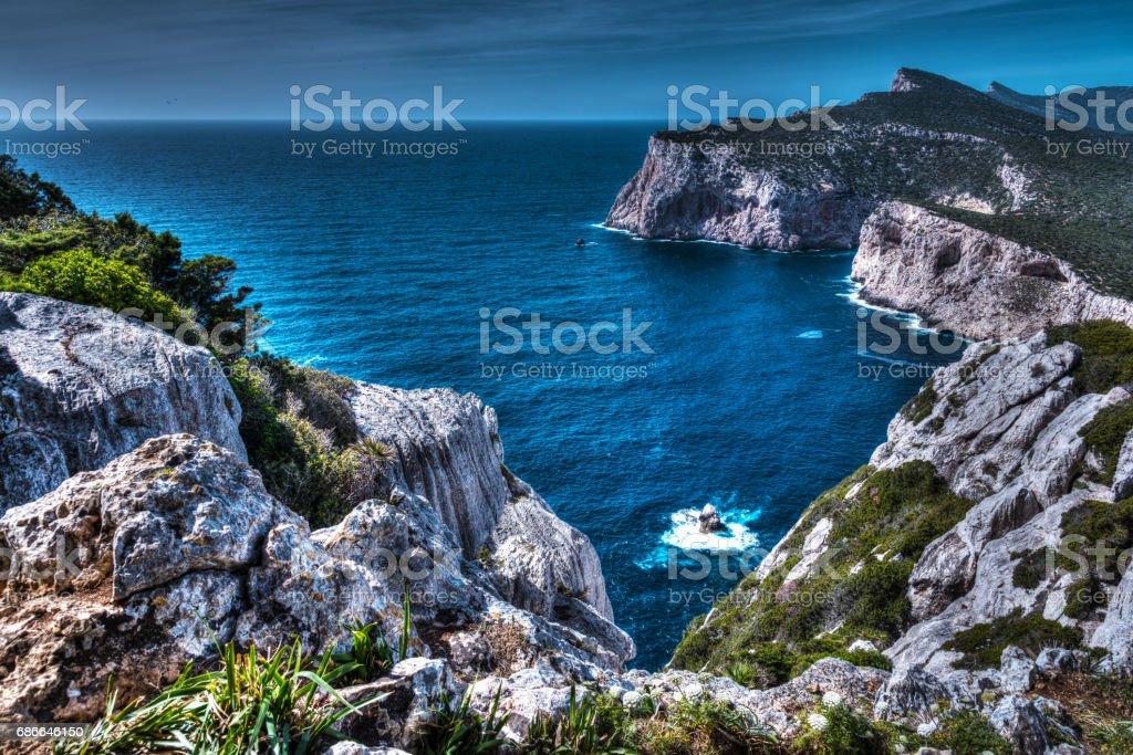 Rocky coast in Capo Caccia royalty-free stock photo