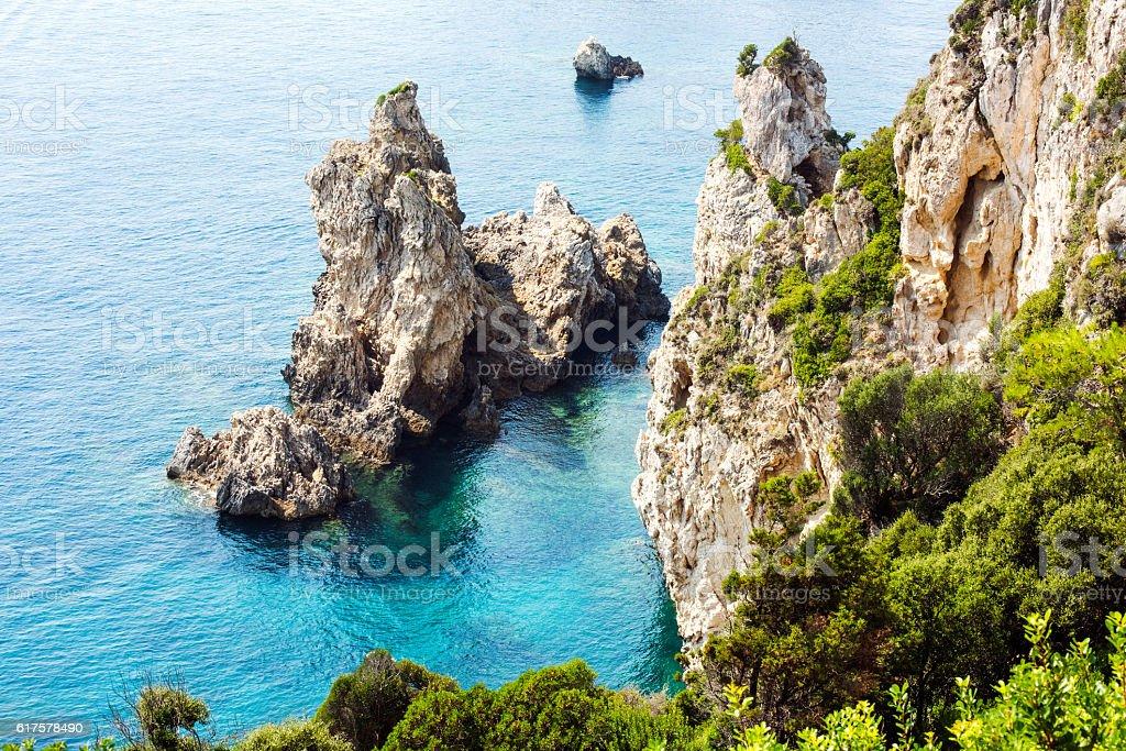 Rocky coast landscape in Greece stock photo