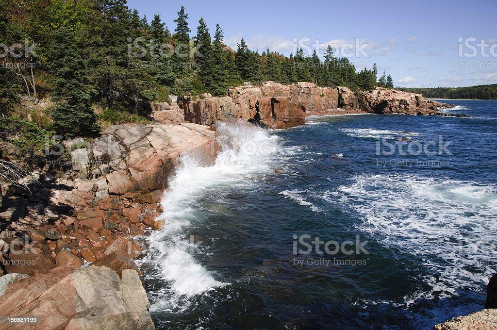 Rocky coast of Acadia National Park, Maine stock photo