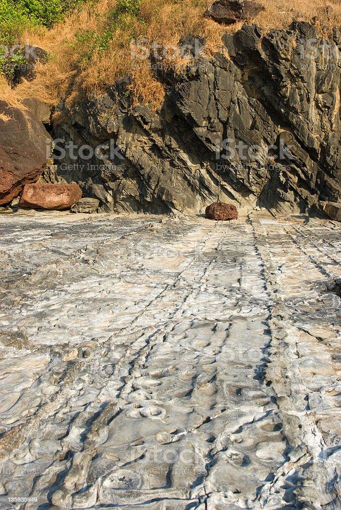 Rocky coast of Arabian sea in Goa royalty-free stock photo