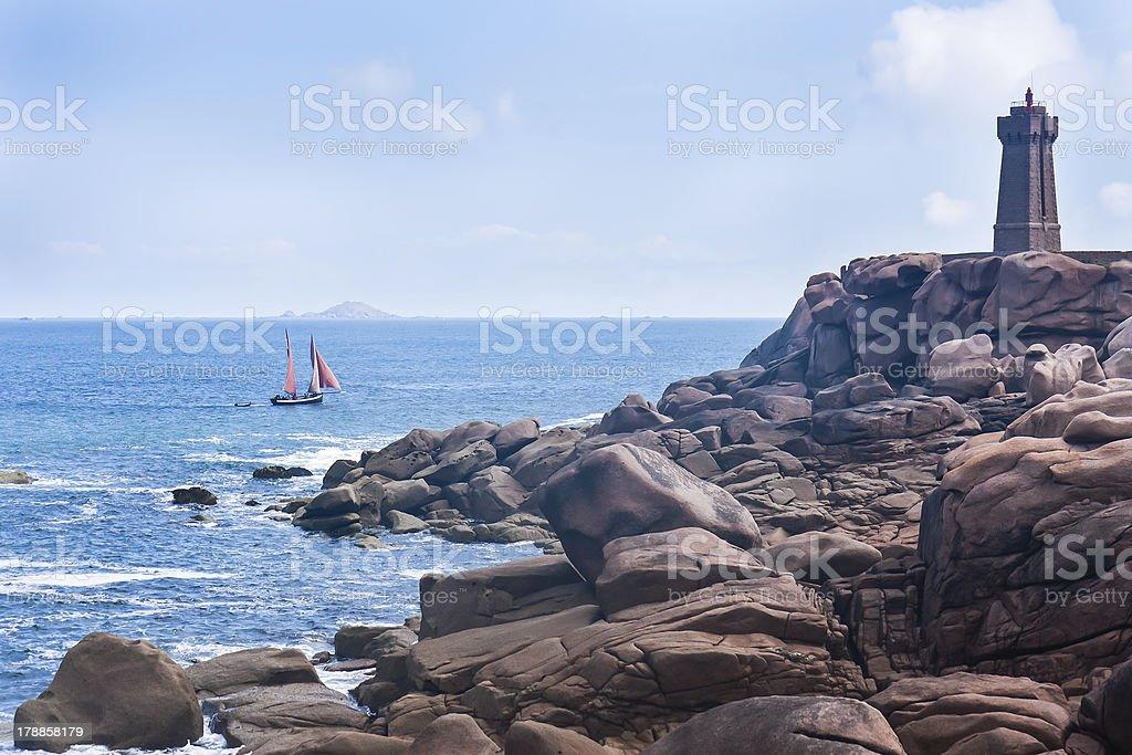Rocky coast of Brittany, France royalty-free stock photo
