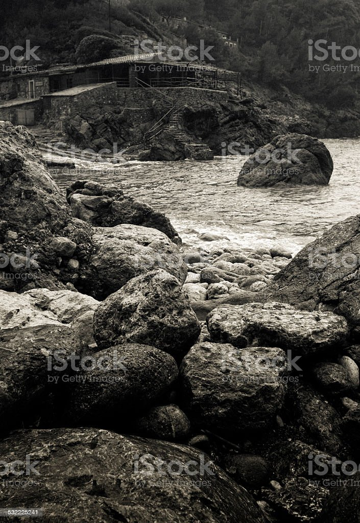 Rocky coast of Cala Deia on balearic island Mallorca stock photo