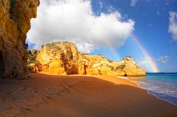 Rocky coast of Lagos, Portugal stock photo