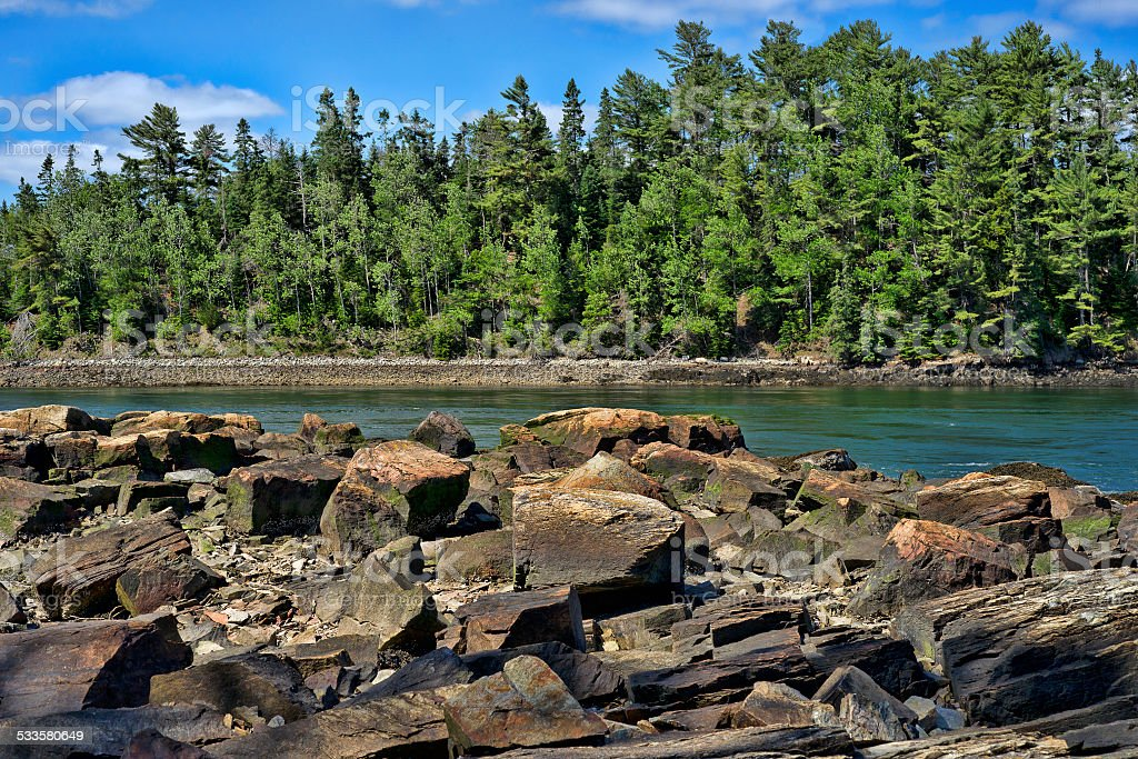 Rocky coast of Maine stock photo