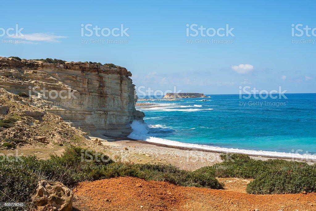 Rocky coast of Mediterranean sea stock photo