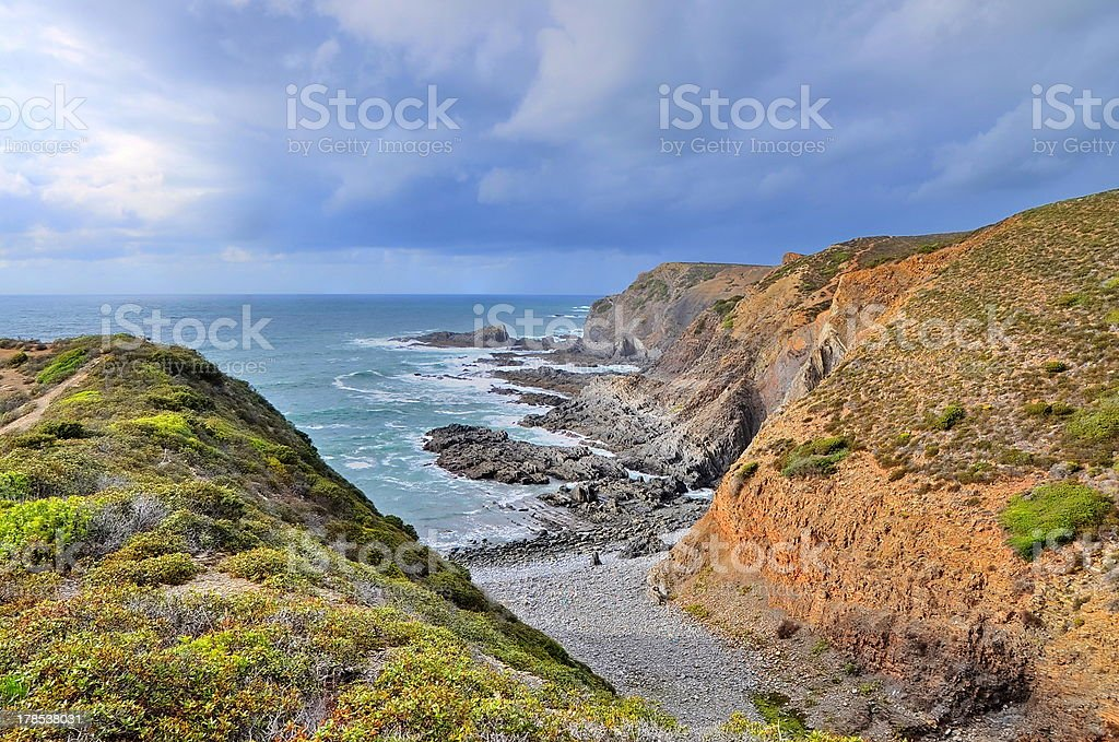 Rocky coast of Portugal in HDR royalty-free stock photo