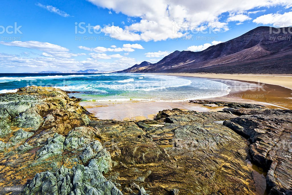 Rocky coast of the atlantic ocean at Fuerteventura stock photo