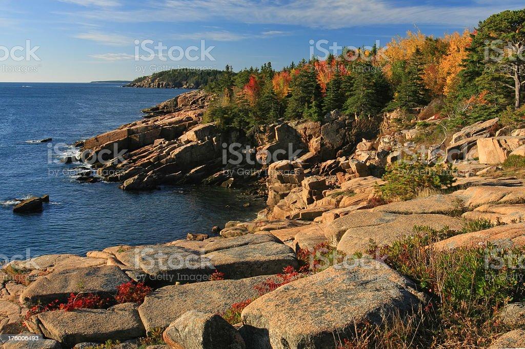 Rocky Coast on Autumn Morning stock photo