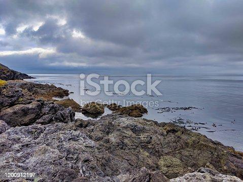 1030314738 istock photo Rocky coastal shoreline of Friday Harbor in San Juan Island, WA, on an overcast day 1200912197
