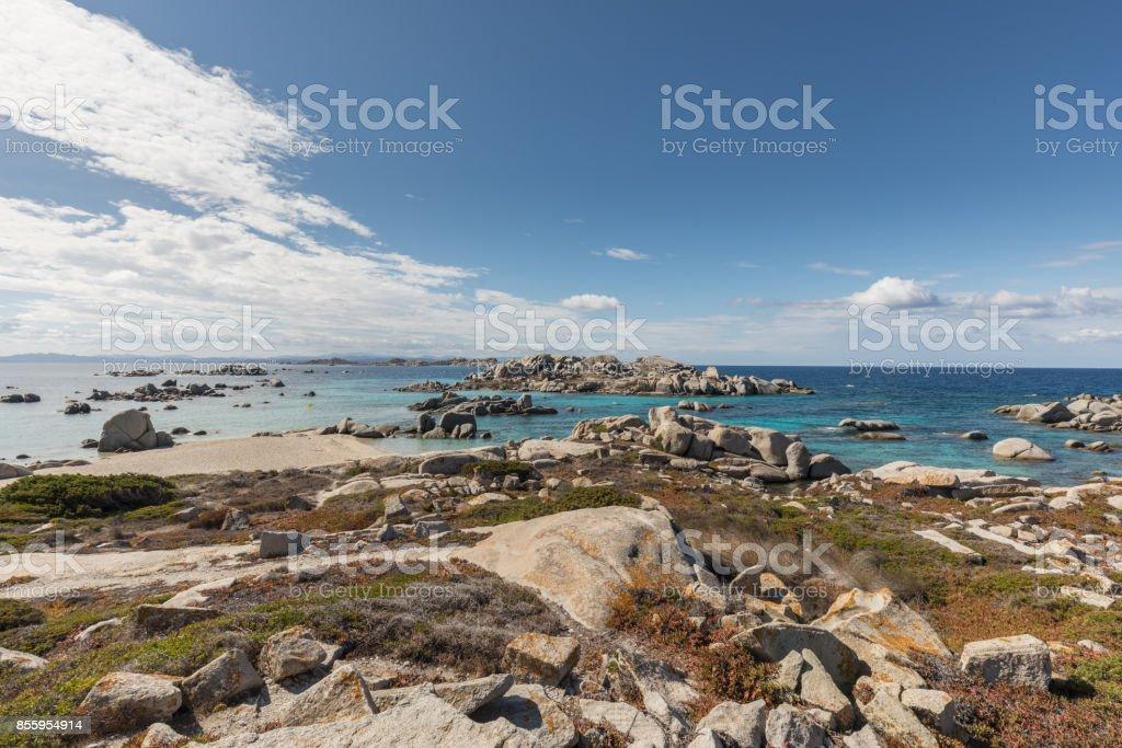 2ba314654965 Rocky coastline and translucent sea at Cavallo island near Corsica  royalty-free stock photo