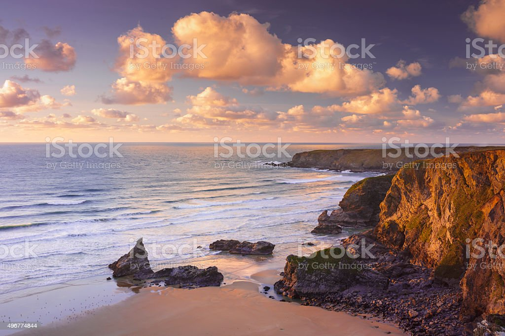 Rocky Coastline at Bedruthan Steps in Cornwall stock photo