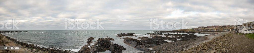 Rocky coastline at MacDuff near Marine Aquarium, Scotland stock photo