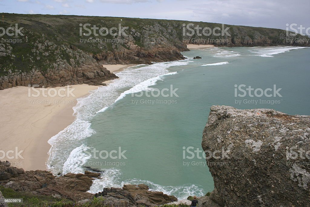 Rocky coastline, cover and beach in Cornwall royalty-free stock photo