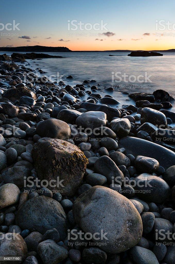 Rocky Coastline of Maine at Sunrise stock photo