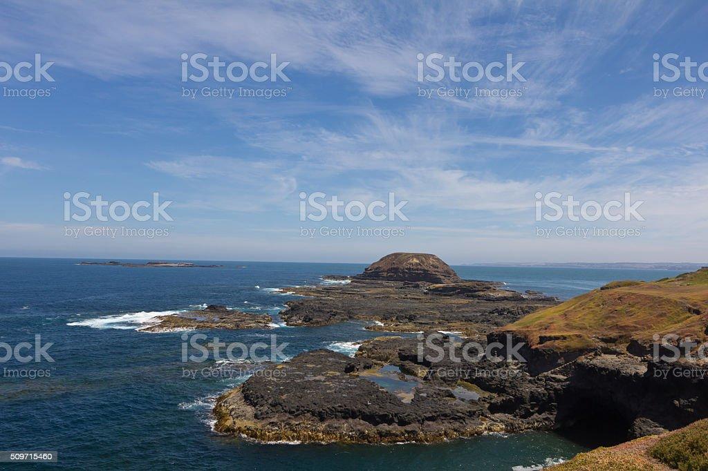 Rocky coastline of the Nobbies in Philip Island, Australia stock photo