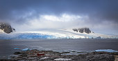Rocky coastline panorama with mountains and glaciers hidden in clouds, Peterman island, Antarctic peninsula