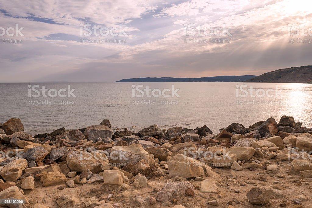 Rocky Greek Island beach and the Aegean Sea stock photo