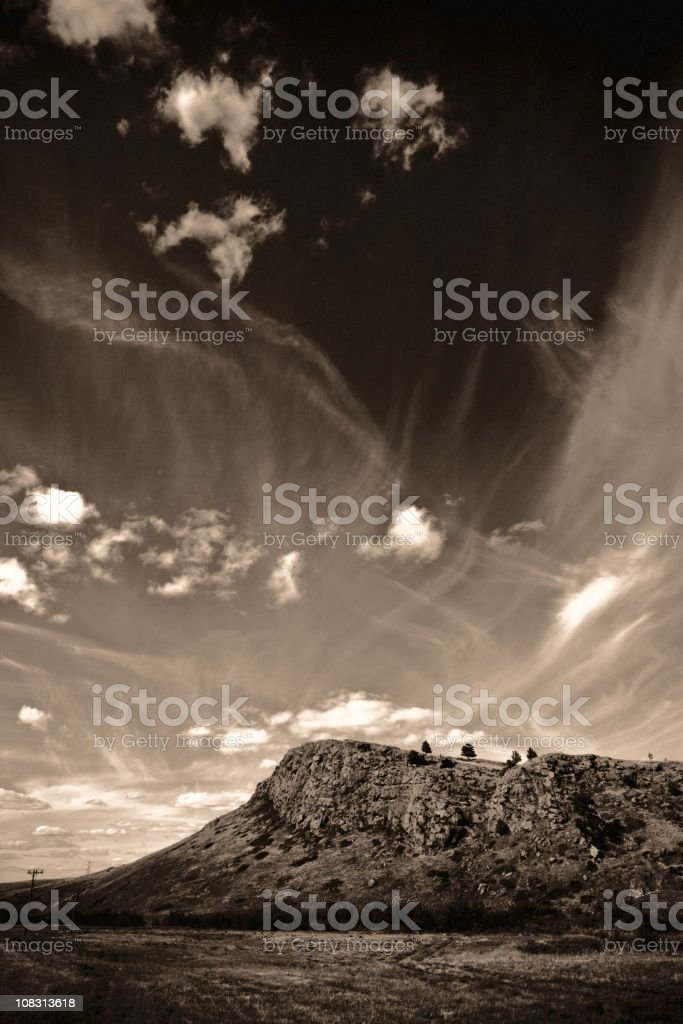 Rocky Hill And Dramatic Sky royalty-free stock photo