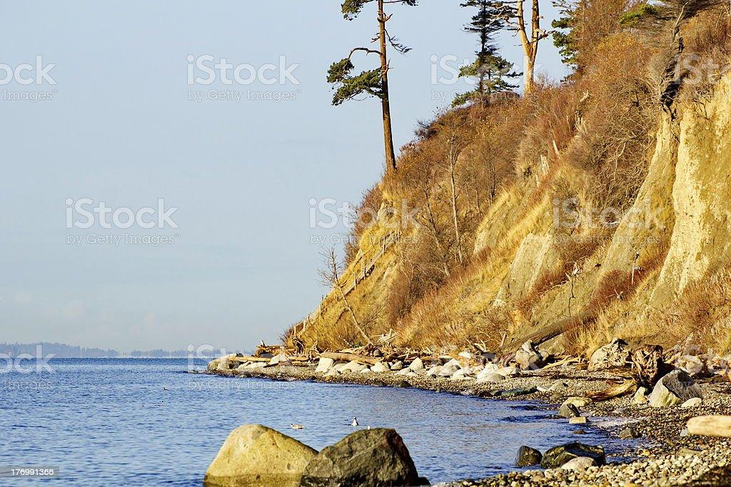 Rocky Hilled Coastline of Birch Bay in Blaine, Washington stock photo