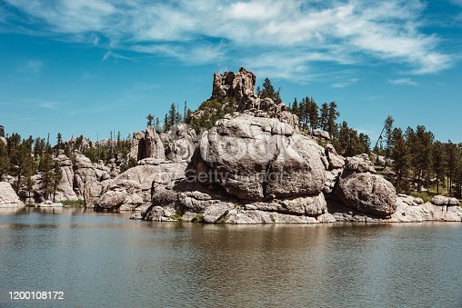 Rocky hills by a lake, Black Hills, South Dakota