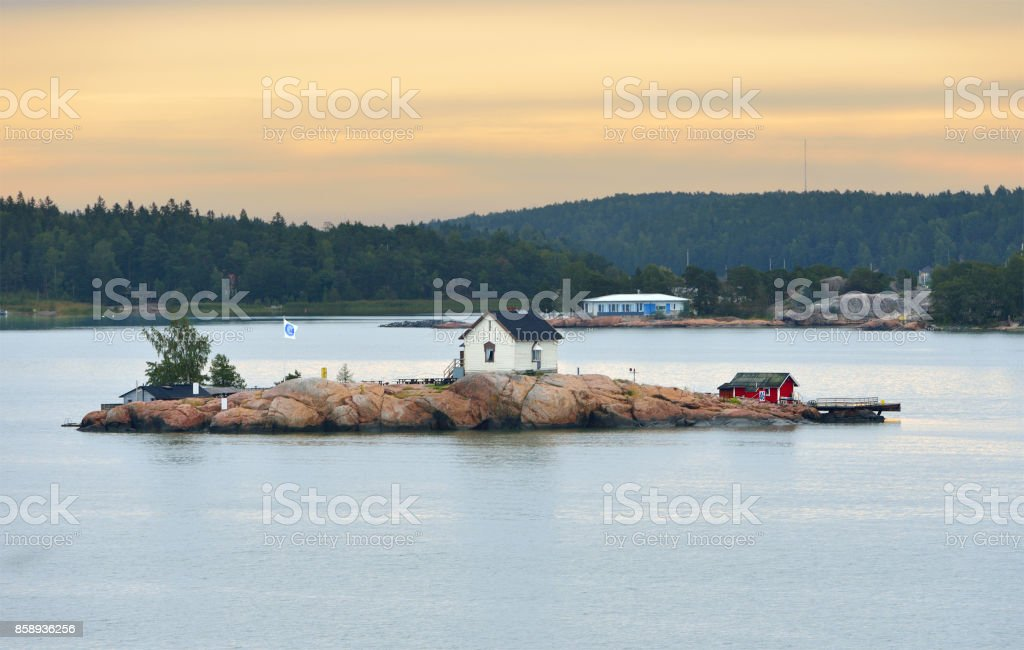 Rocky island in archipelago of Turku, Finland. Dawn stock photo