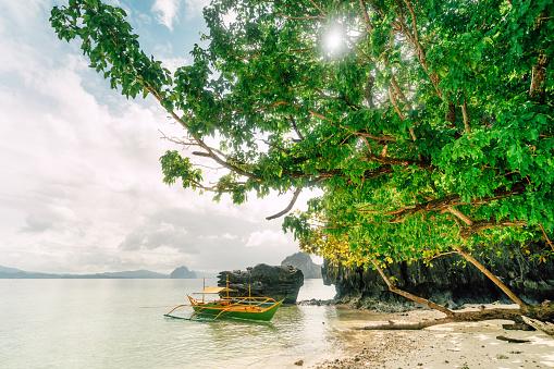 Rocky landscape and Boats, El Nido, Palawan, Philippines
