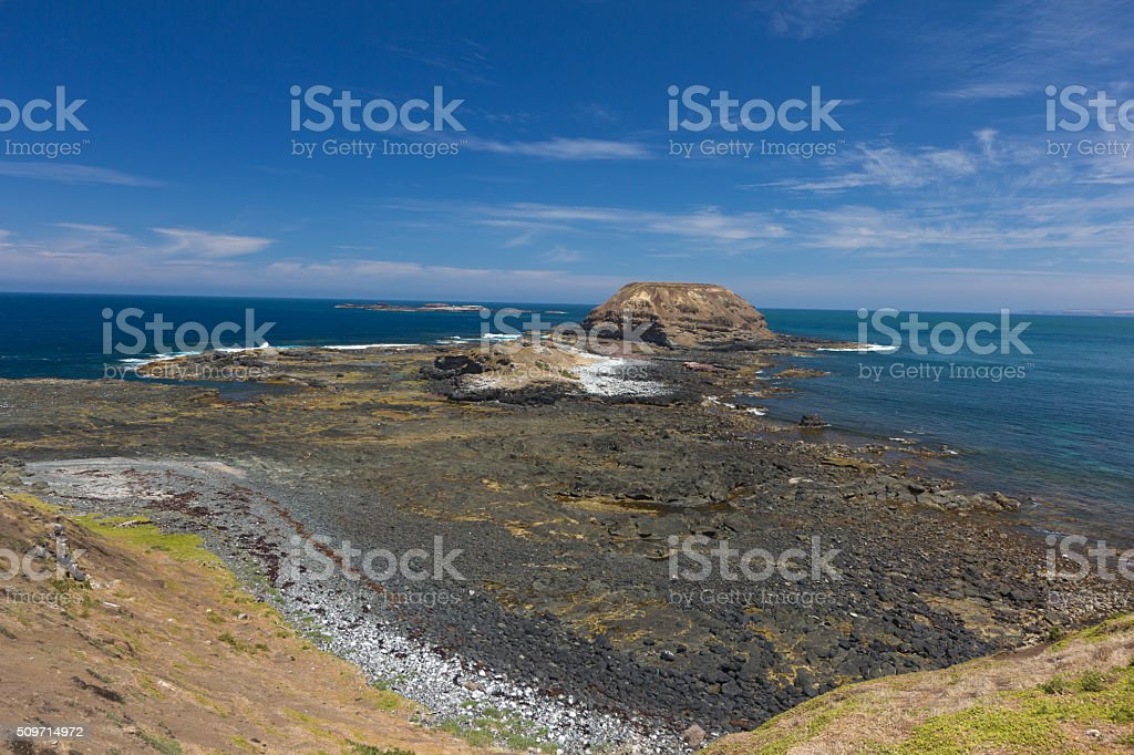 Rocky landscape at the Nobbies stock photo