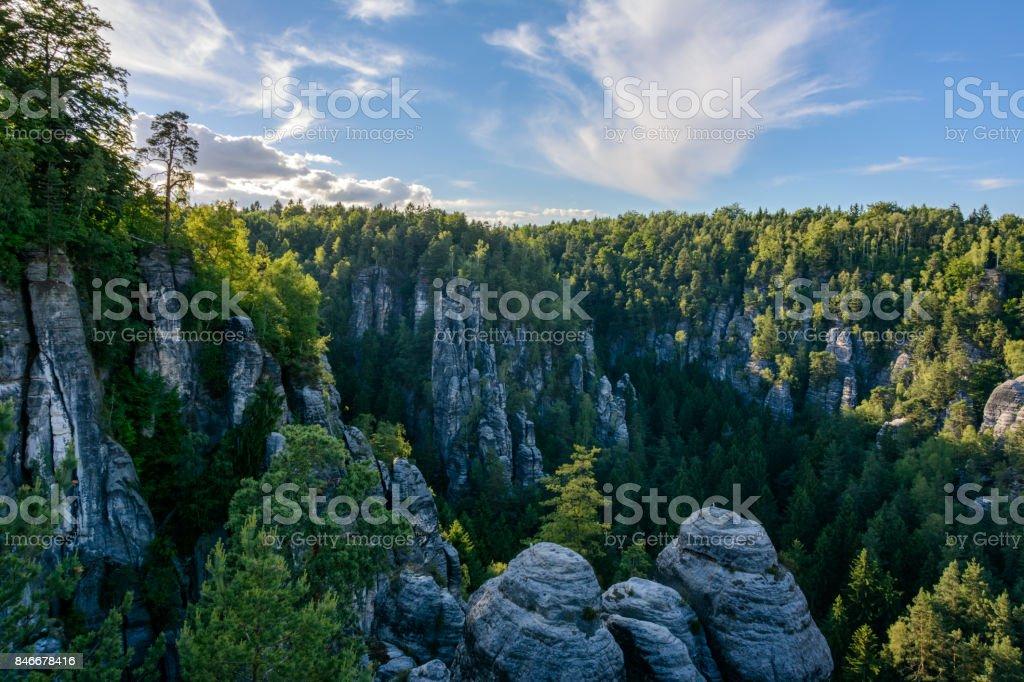 Rocky landscape in Germany. Saxon Switzerland national park, Saxony stock photo