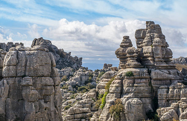 Rocky landscape in Torcal stock photo