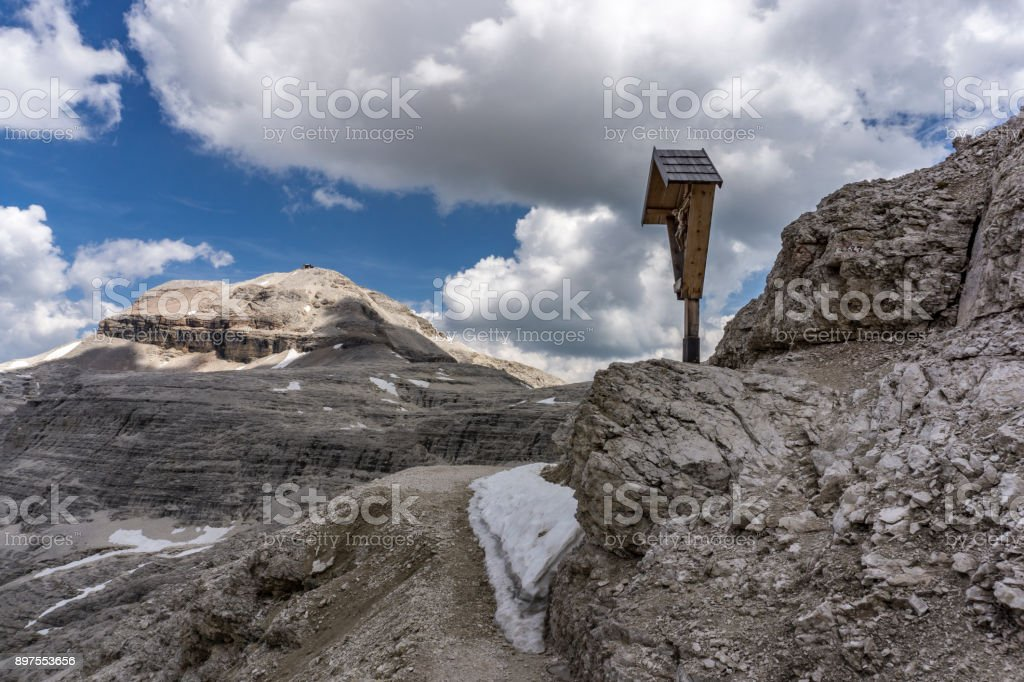 Rocky landscape of the Dolomites. View of the Piz Boe. stock photo
