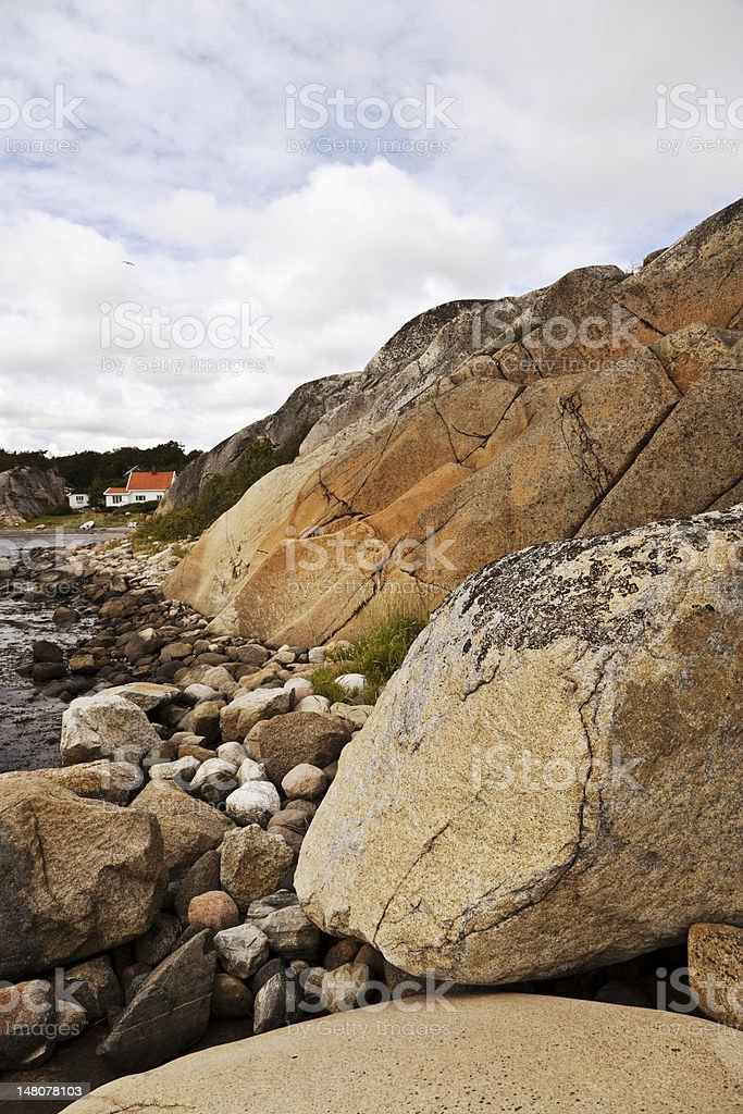 Rocky landscape with houses. royalty-free stock photo