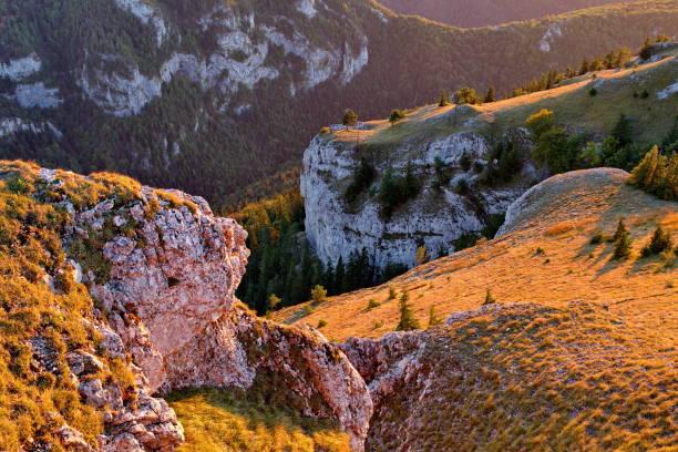 가을 석양의 빛에 황금빛 잔디와 숲이 있는 바위 대산괴 - 벨리카 파트라 뉴스 사진 이미지