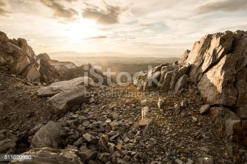 rocky mountain and sunset in the  background