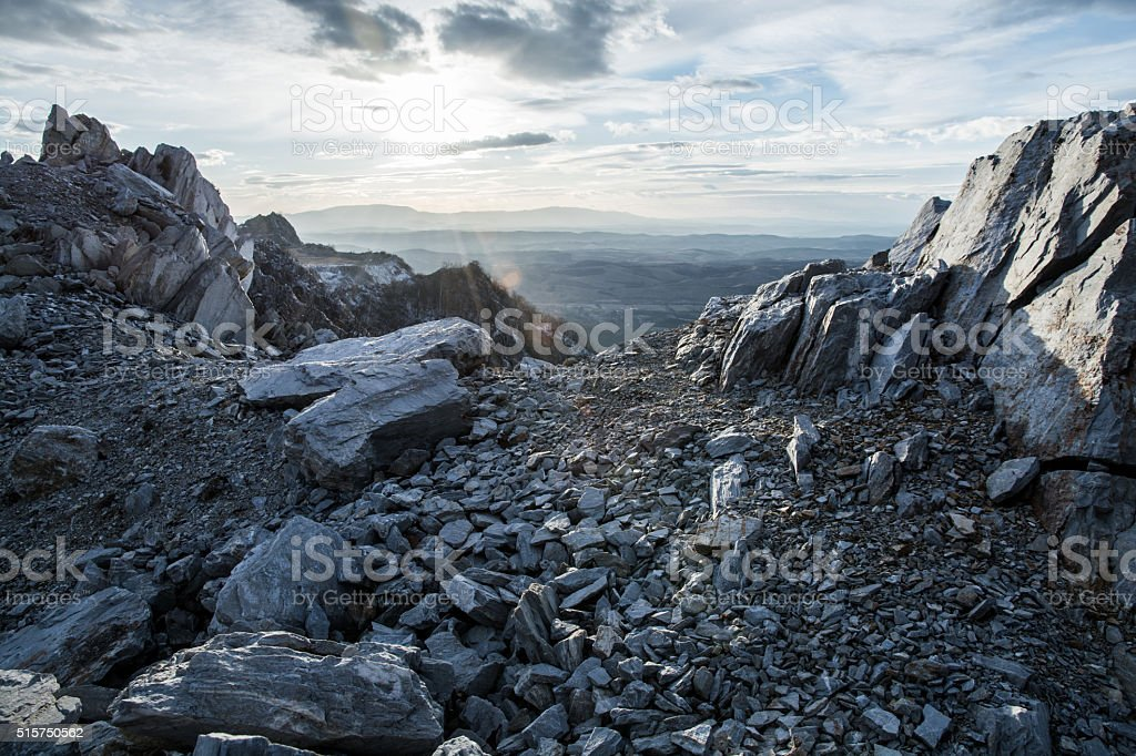 rocky mountain and sunset stock photo