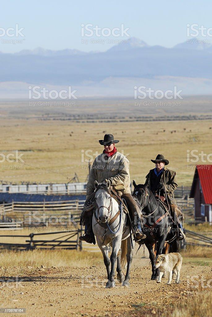 Rocky Mountain Cowboys on Horseback stock photo