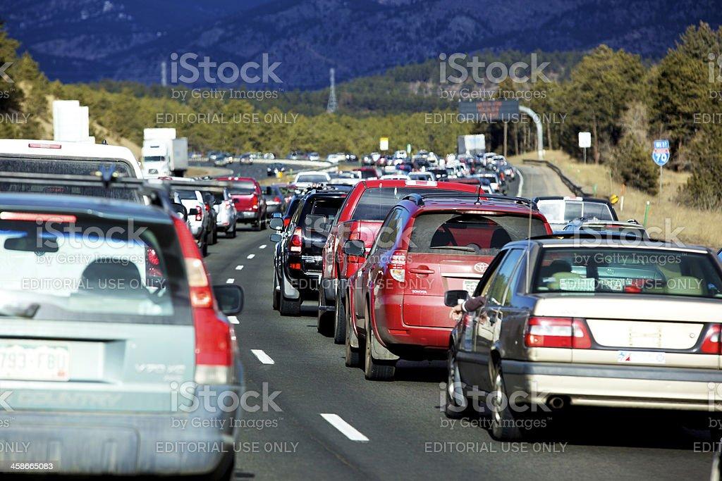 Rocky Mountain driving traffic jam stock photo
