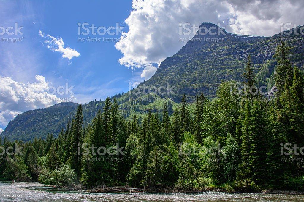 Rocky Mountain in Glacier National Park, Montana USA stock photo