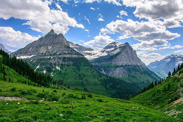 rocky mountain in glacier national park, montana usa. - montana western usa stock pictures, royalty-free photos & images