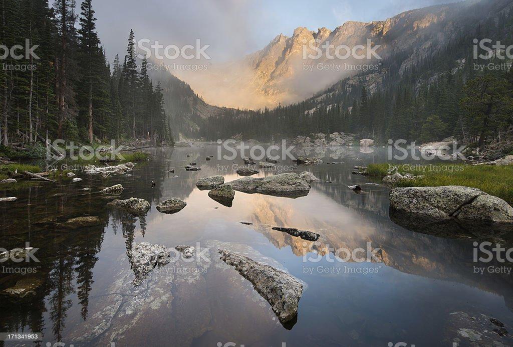Rocky Mountain National Park Dream Lake Fog stock photo