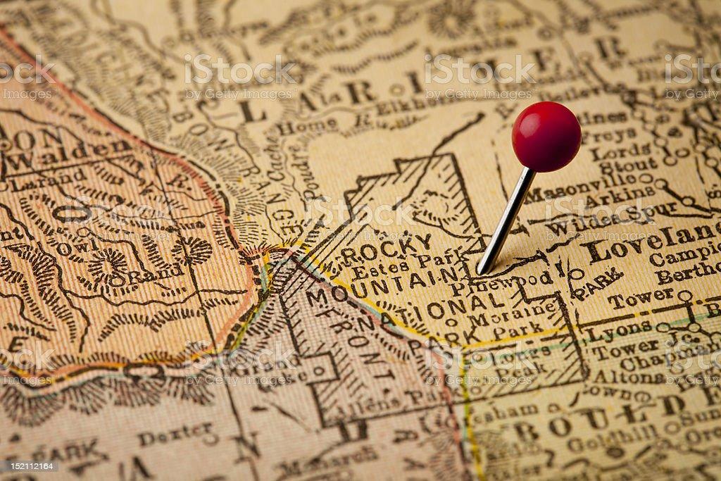 Rocky Mountain National Park vintage map stock photo