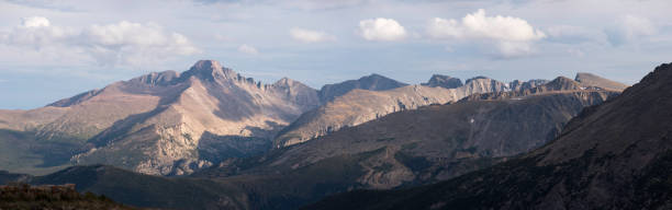 Rocky Mountain National Park  with Longs Peak Panorama located in Northern Colorado. stock photo