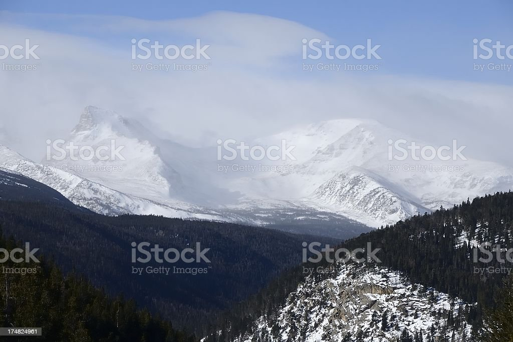 Rocky Mountain snow and fog landscape royalty-free stock photo