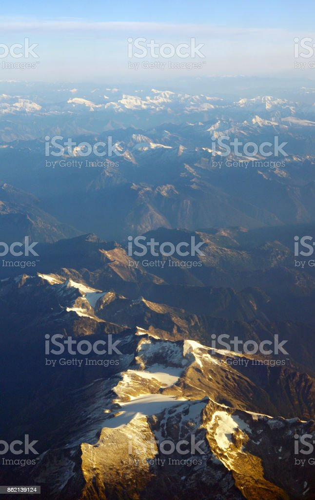 Rocky Mountains aerial view stock photo