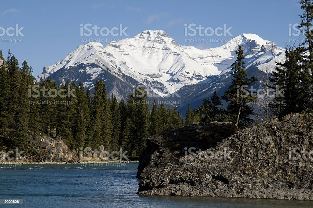 Rocky Mountains and Bow River royalty-free stock photo