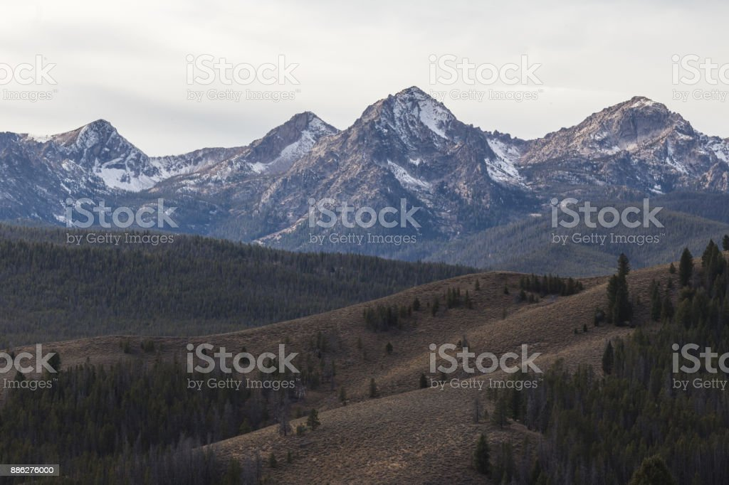 Rocky Mountains and Rolling Hills stock photo