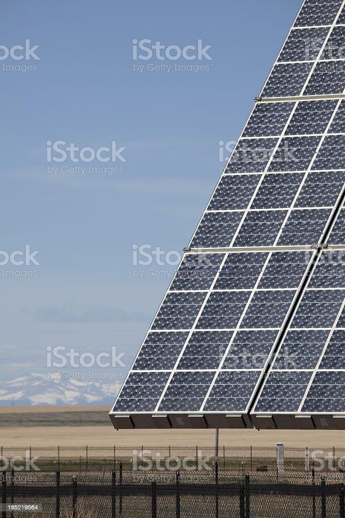 Rocky Mountains and solar collectors in Aurora Colorado stock photo