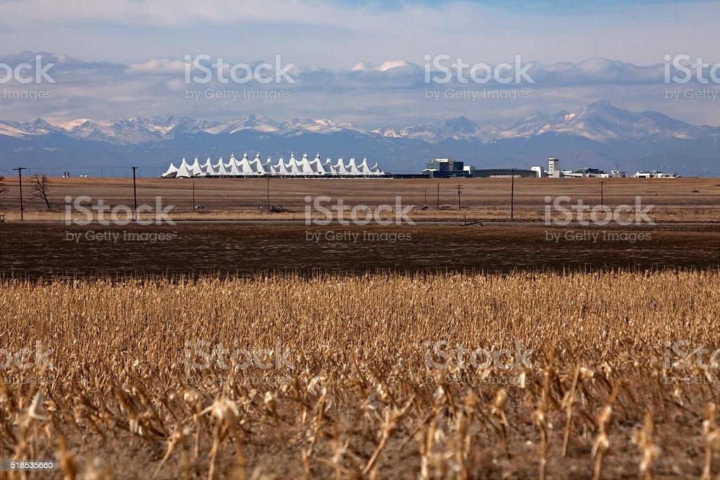 Rocky Mountains Denver International Airport Teepees Colorado corn fields stock photo