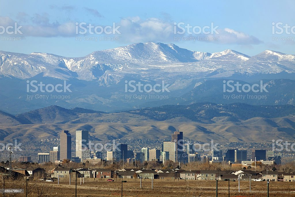 Rocky Mountains Front Range homes and downtown Denver Colorado skyscrapers stock photo