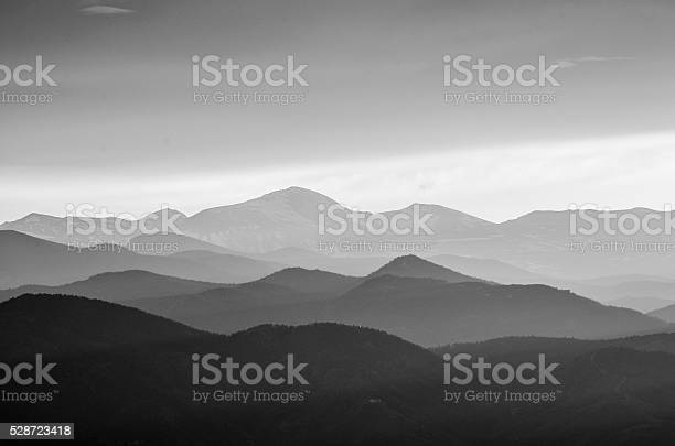 Photo of Rocky Mountains in Black and White Silhouette
