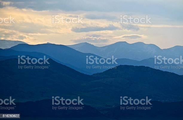 Photo of Rocky Mountains in Blue Silhouette